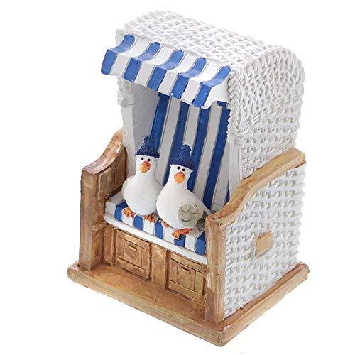 Topshop24you wunderschöne Urlaubskasse,Reisekasse Spardose Strandkorb blau/weiß mit Möwen und Gummistopfen