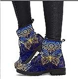 Botas con Cordones con Estampado de Calavera para Mujer - Botines Martin de Moda para Mujer - Primavera Otoño Invierno (Color : Blue, Size : 37)