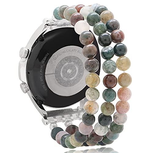 KAI Top Beaded Bracelet Compatible for Galaxy Watch 3 Band 45mm, Fashion Handmade 22mm Elastic Beaded Replacement Stretch Strap for Galaxy Watch 46mm/Gear S3 Frontier/Classic Women Girls