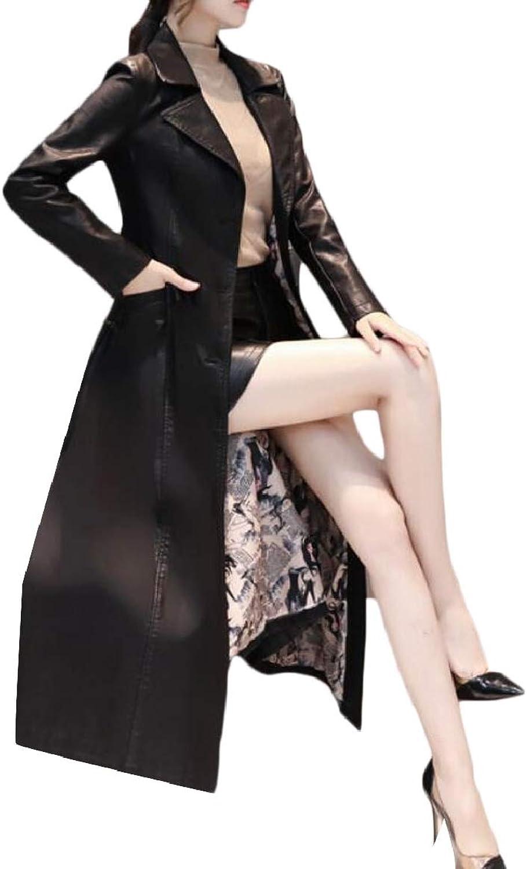RGCA Womens Casual Button Lapel Slim FauxLeather PU Long Length Windbreaker