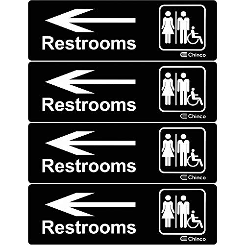 4 Pieces Acrylic Plastic Restrooms Sign Restroom Directional Sign Men Women Wheelchair Restroom Sign with Arrow for Office Restaurants Hotels Supermarket Supplies, 9 by 3 Inch (Left Arrow)