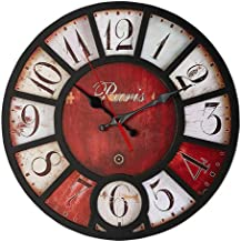 Retro Real Wooden Wall Clock, No Ticking Noiseless Quartz - Easy to Read and Hang Home Office School Round Clock (14 inch Paris) (Red Dial Paris)