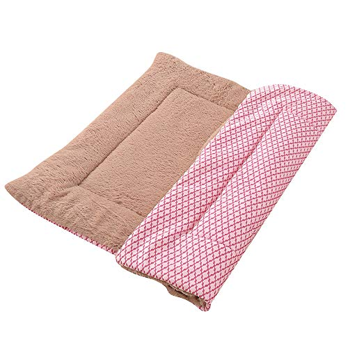 Vejaoo Colchones para Gatos Y Perros, Ambos Lados Disponibles -Colchones para Mascotas XZ014 (S(58 * 40CM), Short Plush Pink)