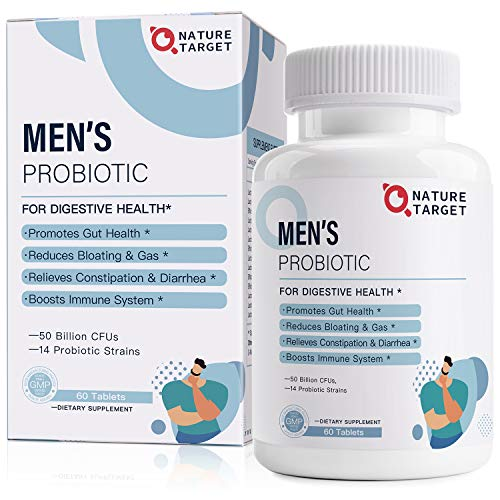 Probiotics for Men with Men Care Supplement - 50 Billion CFUs & 14 Strains Dr. Formulated Prebiotics & Probiotics for Men's Digestive and Immune Health,Shelf Stable,Gluten Dairy & Soy Free(60 Tablets)