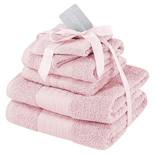 Dreamscene - Juego de Toallas supersuaves, 6 Unidades, 100% algodón, 500 g/m², Rosa encarnado, 6 Piece Towel Bale Set