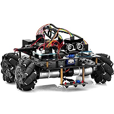 OSOYOO Omni-directinal Mecanum Wheels Robot Car Kit for Arduino Mega2560|Metal Chassis DC Speed Encoder Motor Robotic DIY|STEM Remote Controlled Educational | Mechanical DIY Coding for Teens Adult