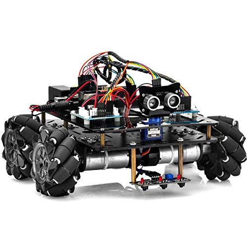 OSOYOO Omni-directinal Mecanum Wheels Robot Car Kit for Arduino Mega2560|Metal Chassis DC Motor Robotic DIY|STEM Remote Controlled Educational | Mechanical DIY Coding for Teens Adult
