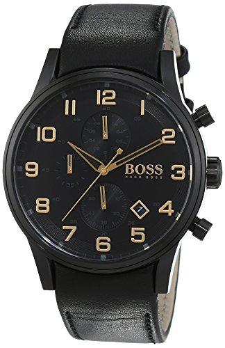 Hugo Boss uomo-Orologio da polso Aero liner Black and Gold cronografo orologio 1513274