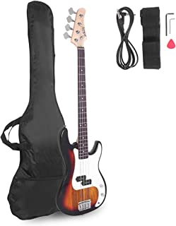 Glarry Electric Bass Guitar Full Size 4 String Rosewood Basswood Fire Style Exquisite Burning Bass ( Sunset )