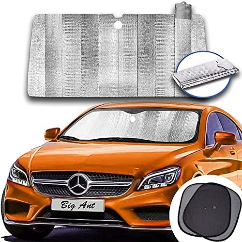 Big Ant Parasol para el parabrisas del coche, plegable, protección UV universal para coche, SUV, camión + 2 ventanas de coche