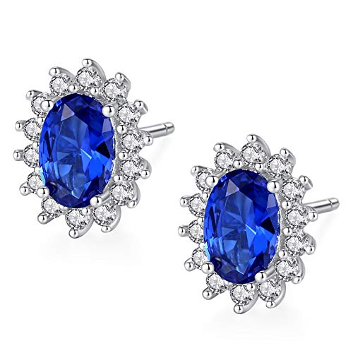 Adokiss Jewellery Earrings Silver 925 Nickel-Free Women's Earrings Wedding Flower Oval Shape Blue Cubic Zirconia Silver Anniversary Gifts Wife Birthday Gift Best Friend
