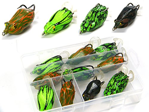 10 Pcs Mix Color Green Brown Yellow Crank Bass Soft Fishing Frog Lure