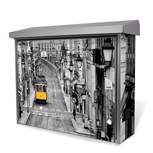 Burg-Wächter Edelstahl Briefkasten | Modell Inoxstar 4700 Ni 38,5 x 31,5 x 12cm | witterungsbeständig, mit Zylinderschloss, 2 Schlüssel, Montagematerial | Motiv Lissabon mit weißem Standfuß