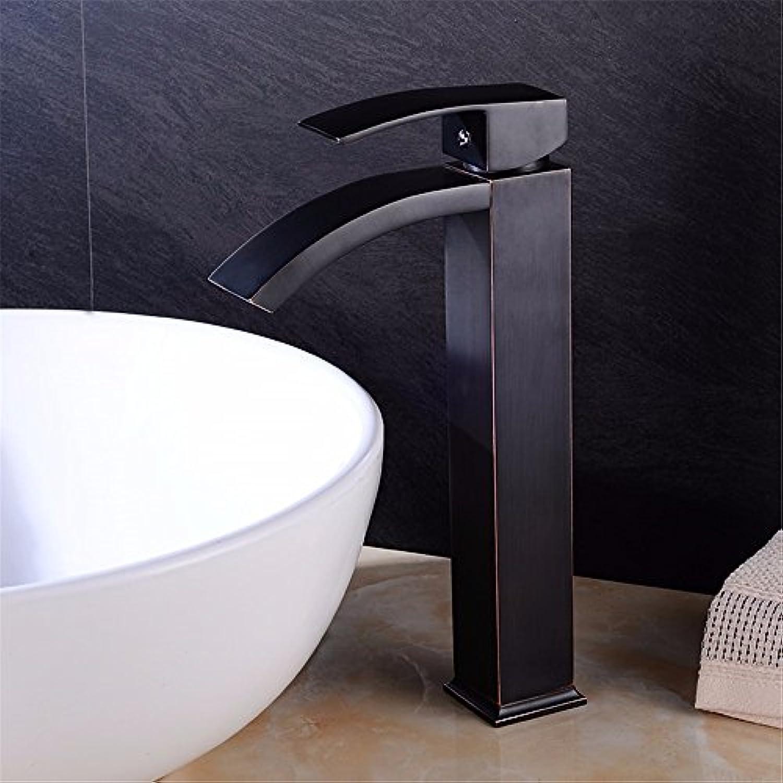 Bijjaladeva Wasserhahn Bad Wasserfall Mischbatterie WaschbeckenWarme und Kalte Becken Schwarz Wasserhahn Wasserhahn Schwarz Schwarz Tisch Waschbecken mit kaltem Wasser Wasserfall