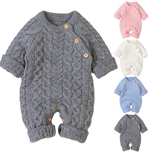 Haokaini Neugeborenes Gestrickt Schneeanzug Winter Wärmer Sweatshirt Strampelhöschen Bodysuit Overall Für Jungen Mädchen