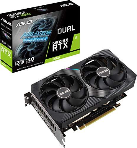 ASUS Dual NVIDIA GeForce RTX 3060 OC Edition 12GB GDDR6 Carte Graphique Gaming (PCIe 4.0, 12GB GDDR6, HDMI 2.1, DisplayPort 1.4a, 2-slot, ventilateurs axiaux, 0dB technologie)