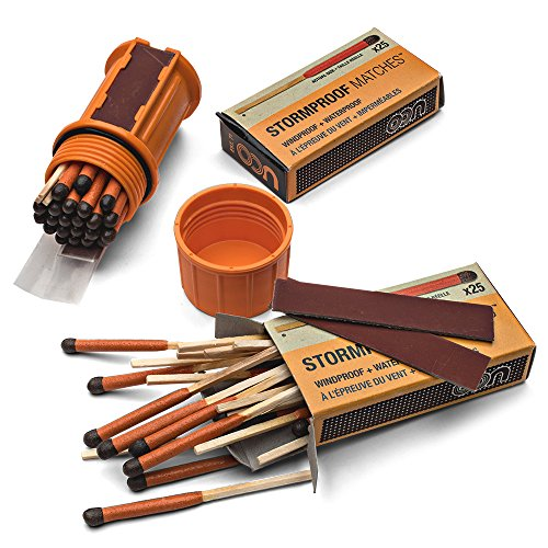"Kings County Tools Stormproof Wilderness Waterproof Matches Kit | 75 Long Burn 2"" Matches 