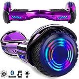 Magic Vida 6.5´´ Patinete Eléctrico Bluetooth Scooter Monopatín LED Atractivo(Púrpula Cielo)