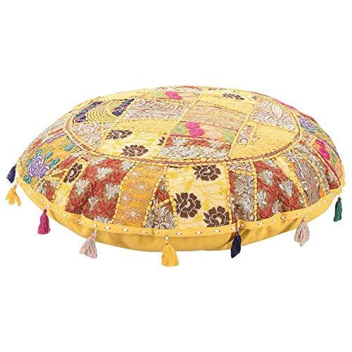 Heces de pie étnico decorativas hechas a mano de algodón estilo bohemio, estilo bohemio hecho a mano con patchwork y funda de cojín para asientos, puf otomano (amarillo, 45,72 cm)