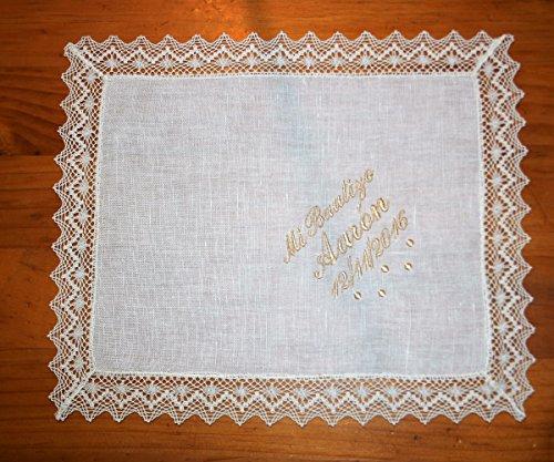 PRIMERAEDAD/Pañuelo bautizo de lino beige personalizado con nombre y fecha/32 x 26 cm/
