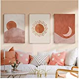 Morandi Abstrakte Boho Landschaft Sonne und Mond Szene