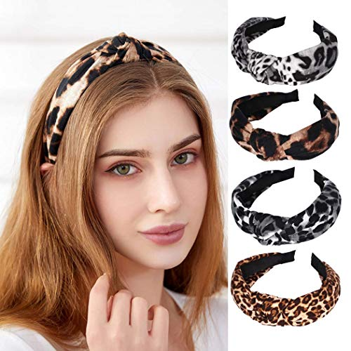 Bohend Fashion Damen Stirnband, breit, Leopardenmuster, geknotet, solide Kopfbedeckung, für den täglichen Gebrauch, Haarzubehör für Frauen und Grills (4 Stück)