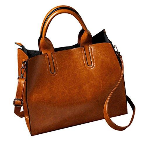 TUDUZ Damen PU Leder Handtasche mit Messenger Schulterriemen Kuriertasche (Braun)