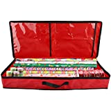 LEMCC Christmas Wrapping Paper Storage Bag Under Bed Gift Wrap Storage Box Fits 30 Inch Long Rolls Christmas Ornament Storage Gift Wrap Organizers for Paper Rolls Ribbon Bows