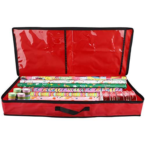 KHBNHJ Bolsa de almacenamiento para decoración de Navidad, bolsa de regalo, organizador de papel de regalo, soporte para almacenamiento en el hogar y organización, color rojo