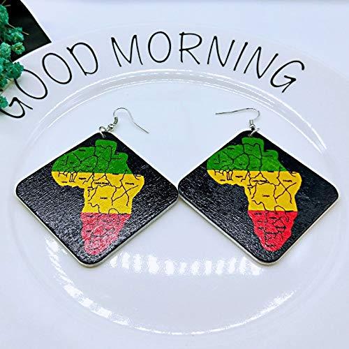 Pendientes De Mujer,6Cm Cuadrados Geométricos De Madera Pintura Tribal Africa Mapa Gota Arete Retro Africanos De Madera Artesanales Indian Hip Hop Oreja Joyas De Señoras De Moda Joyería Oreja Perso