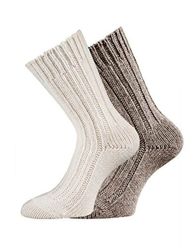 TippTexx24 Nie wieder kalte Füße, 2 Paar superweiche Alpaka-Socken, Wollsocken für Damen & Herren (39/42, Wollweiß/Hellbeige)