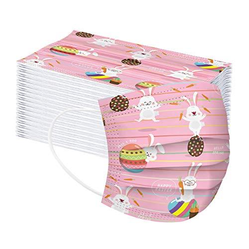 50 Stücke Spunlace Mundschutz Einweg Erwachsene Mund und Nasenschutz mit Hase Atmungsaktive Staubdicht Multifunktion Halstuch für Herren Damen (50 Stück)