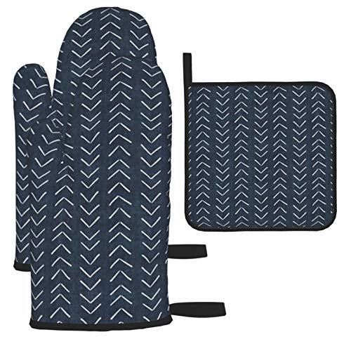 HaiYI-ltd Juego de 3 manoplas de horno y soportes para ollas, de tela de barro de color azul marino, guantes de cocina antideslizantes para cocinar y asar