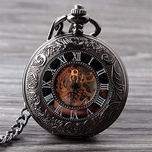 Reloj de Bolsillo Reloj de Bolsillo mecánico Negro Vintage para Hombre Clásico Elegante Esqueleto Hueco Mano Viento Retro Reloj Masculino Colgante Relojes de Cadena