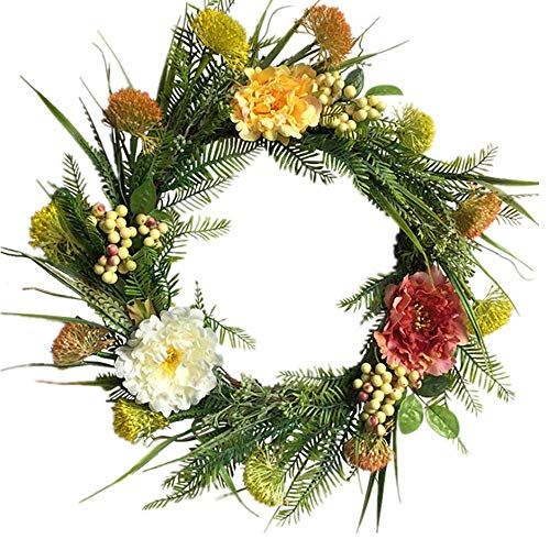 LXLH Artificial Wreath,Artificial Peony Wreath 19.7inch Mixed Fake Peony Dandelion Front Door Wreath with Rattan Base Simulation Peony Wreath Hanging Garland for Home Spring Wedding Decor
