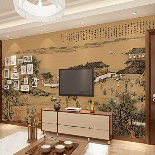 3D fotobehang 35D vlies groot behang Mediterrane gepersonaliseerde moderne wanddecoratie wand wand woonkamer zand TV achtergrond film en TV Fresco muurdecoratie Qingming River Mat 430*300cm