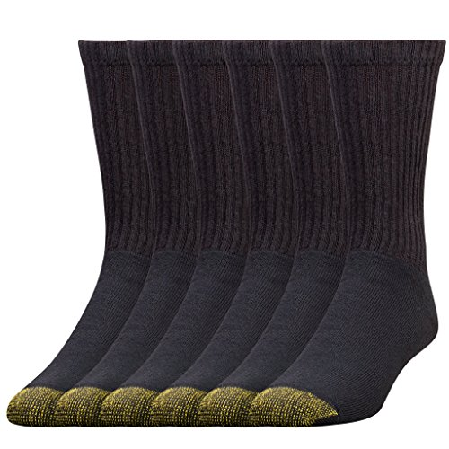 Gold Toe Men's Crew 656s Athletic Sock, 6 Pack Black, Shoe Size: 6-12.5 (Sock Size: 10-13)