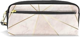 Zara - Estuche para lápices y bolígrafos de piel sintética de gran capacidad, color rosa y dorado: Amazon.es: Oficina y papelería