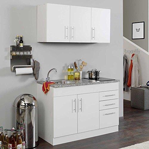 Pharao24 Singleküche York in Weiß mit Ceranfeld (3-teilig)