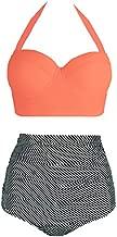 Amourri Vintage Polka Underwire High Waisted Swimsuit Bathing Suits Bikini,Orange+stripe,US 8-10=Tag Size XL