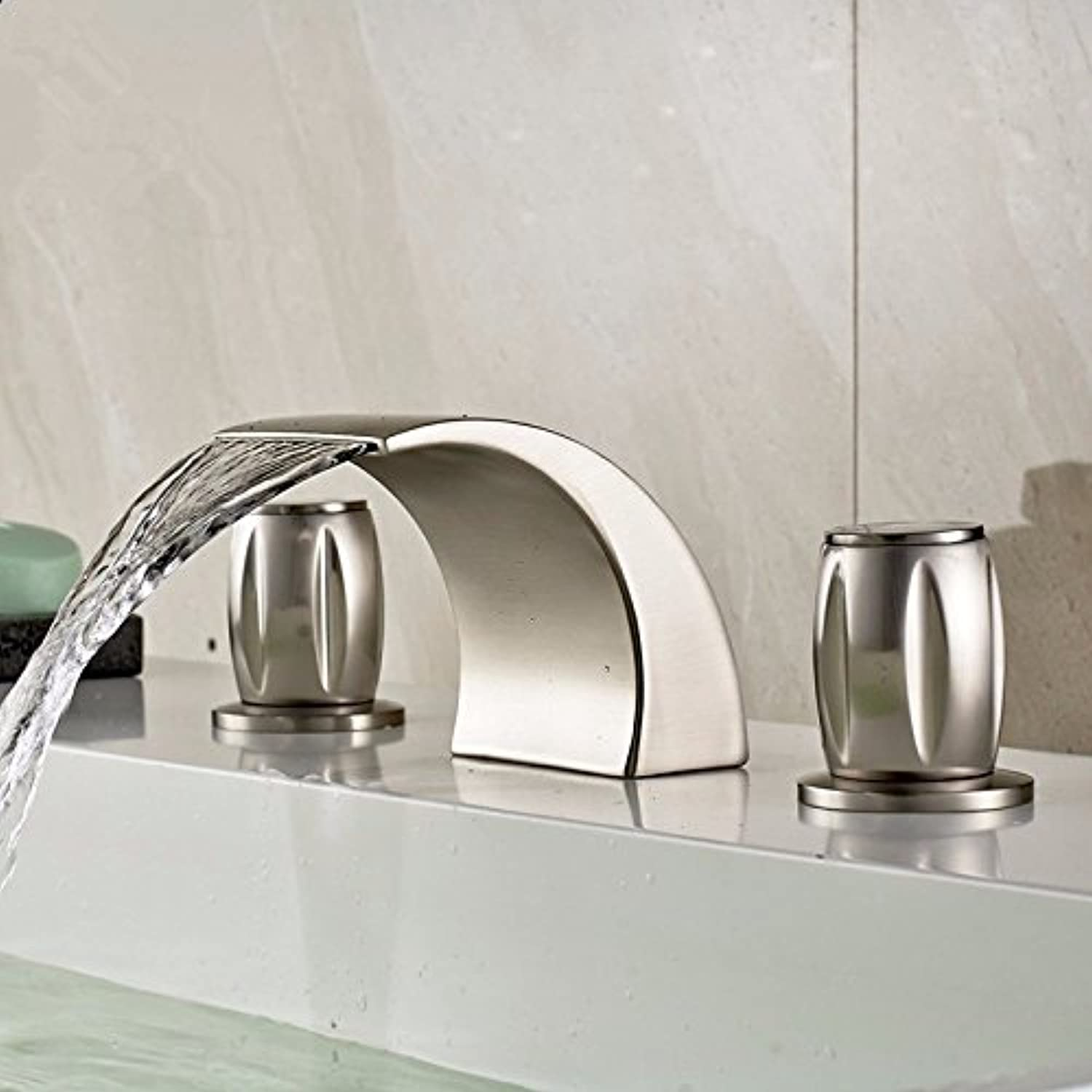 LHbox Basin Mixer Tap Bathroom Sink Faucet Split brushed basin faucet 3-hole hot and cold basin waterfall faucet,B1 without light