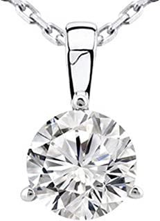 0.5 Carat Round Diamond 3 Prong Solitaire Pendant Necklace H-I Color SI2-I1 Clarity w/ 16