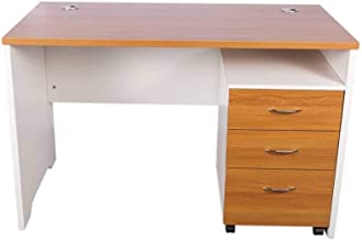 Mahmayi Metal Contemporary Office Desk, MEB14RCH, Brown, H75 x W70 x D140 cm, Require Assembly