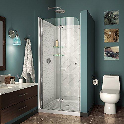 DreamLine Aqua Fold 32 in. D x 32 in. W x 76 3/4 in. H Frameless Bi-Fold Shower Door in Chrome with White Base and Backwall Kit, DL-6527-01