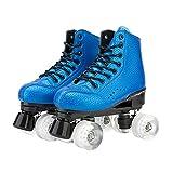 Tmpty Patines para mujer, 4 ruedas, patines de doble fila para hombre, para principiantes adultos y jóvenes (tamaño: 8,5, color: azul)