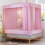 Mosquitera de tres puertas tipo cremallera cama yurta cuadrada superior 1.5 m 1.8 m cama doble hogar princesa viento mosquitera Sika ciervo mosquitera + soporte 2.0m (6.6 pies) cama