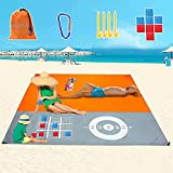 Beach Blanket Sandproof Waterproof, 79''×83'' for 4-7 Adults Oversized Beach Mat Lightweight Portable Picnic Blankets Camping Travel Accessories Stuff, 8 Bean Bag Outdoor Game Play Mat Party
