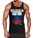 MoonWorks EM Tanktop Herren Fußball Russland Russia Flagge Fanshirt Waschbrettbauch Muskelshirt schwarz L