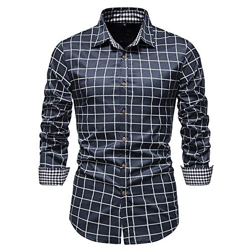 Casuales Camisas Hombre Moderno Urbano Slim Fit Satin Cardigan Hombre Manga Larga Shirt Otoño Invierno Vintage Cuadros Diseño Negocios Boda Hombre Camisa