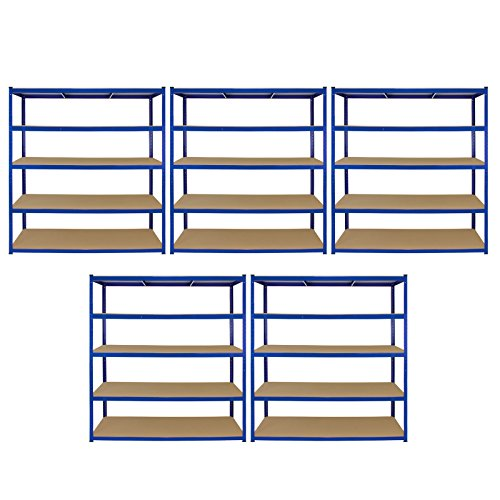 Monster Racking 5 x Garage Racking Shelving Unit / 5 Tier 1600mm Wide x 600mm Deep/Steel & MDF Shelves